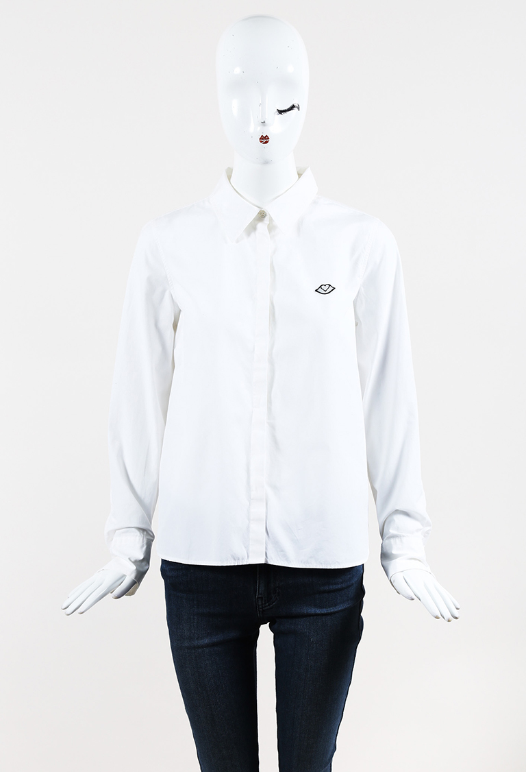 See by  White Cotton Emblem Long Sleeve Button Up Shirt