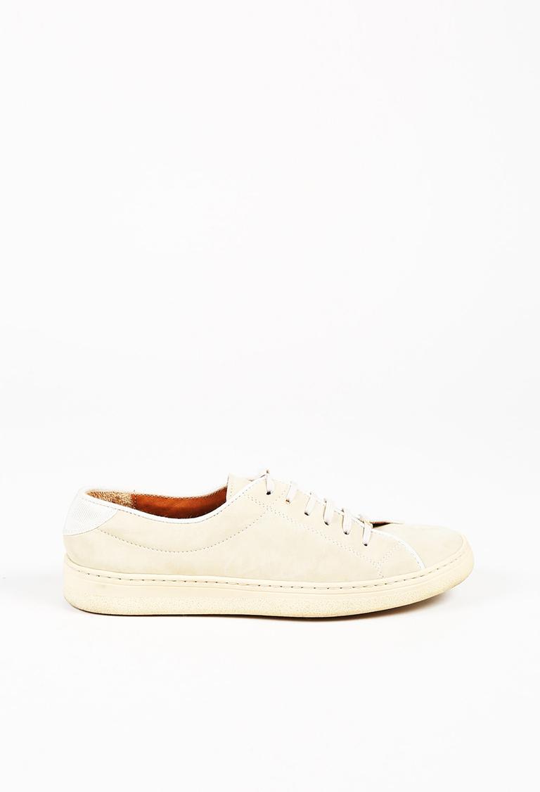 Beige Nubuck Leather Lace Up Low Top Sneakers