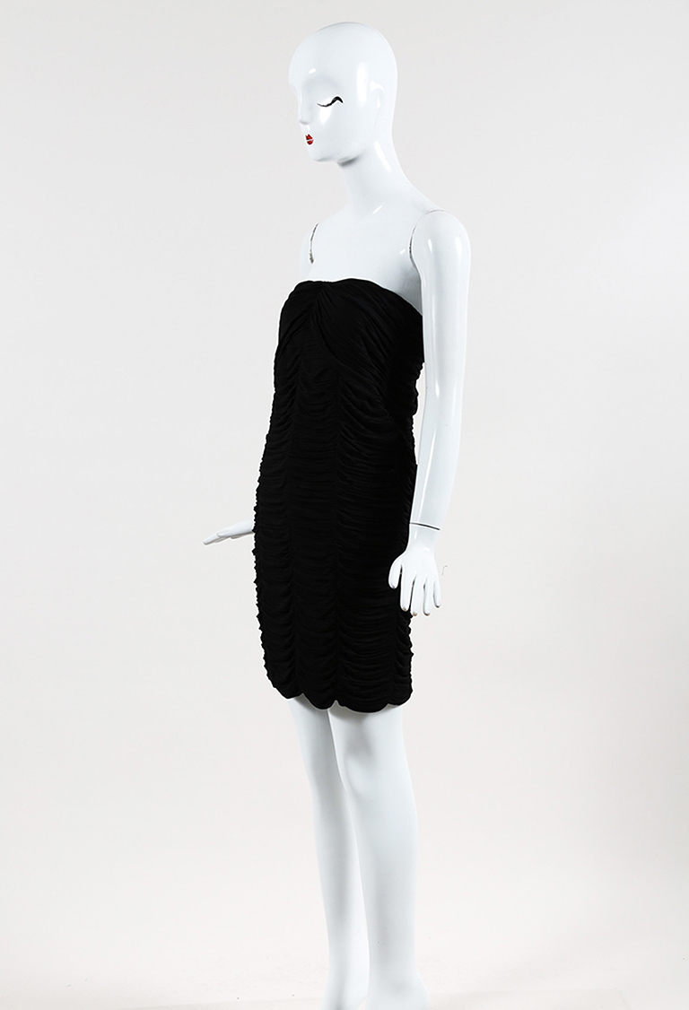 Prorsum Black Jersey Knit Ruched Pencil Dress
