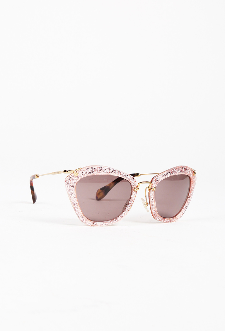 Metallic Pink & Gold Tone Acetate Glittered Cat Eye Sunglasses