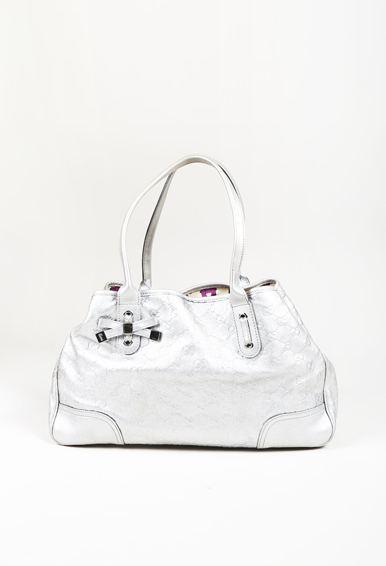 "Metallic Silver Leather ""Guccissima"" Embossed Medium ""Princy"" Tote Bag"