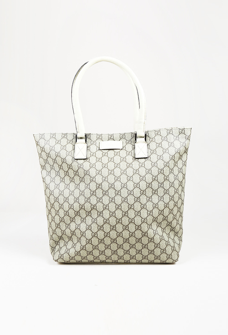 "Beige & Cream Coated Canvas & Leather ""GG Supreme"" Tote Bag"