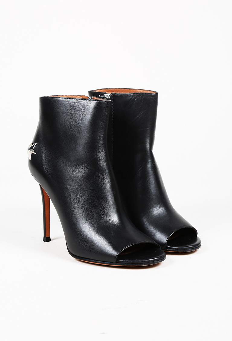 f0a90a48d86 Givenchy. Black Leather Star Studded Peep Toe Ankle Boots