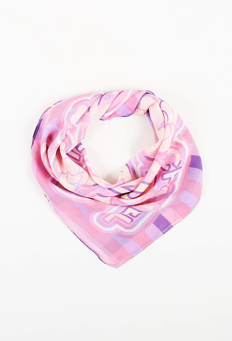 Pink White & Purple Chiffon Camellia Flower Print Sheer Scarf