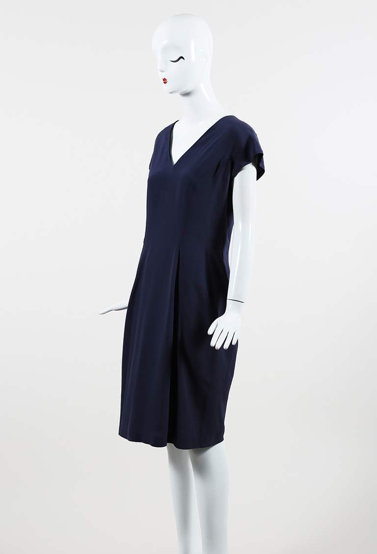Yves  Blue V Neck Cap Sleeve Sheath Dress