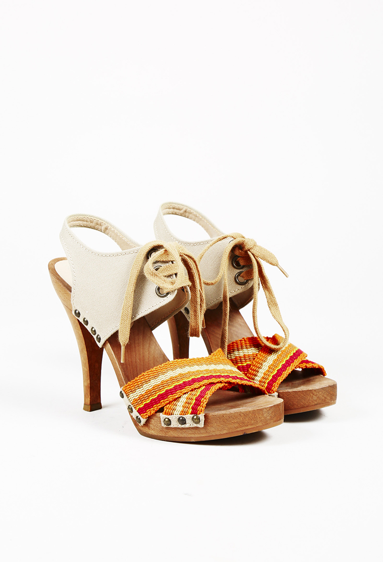Multicolor Canvas Jute Wooden Platform Lace Up Sandals