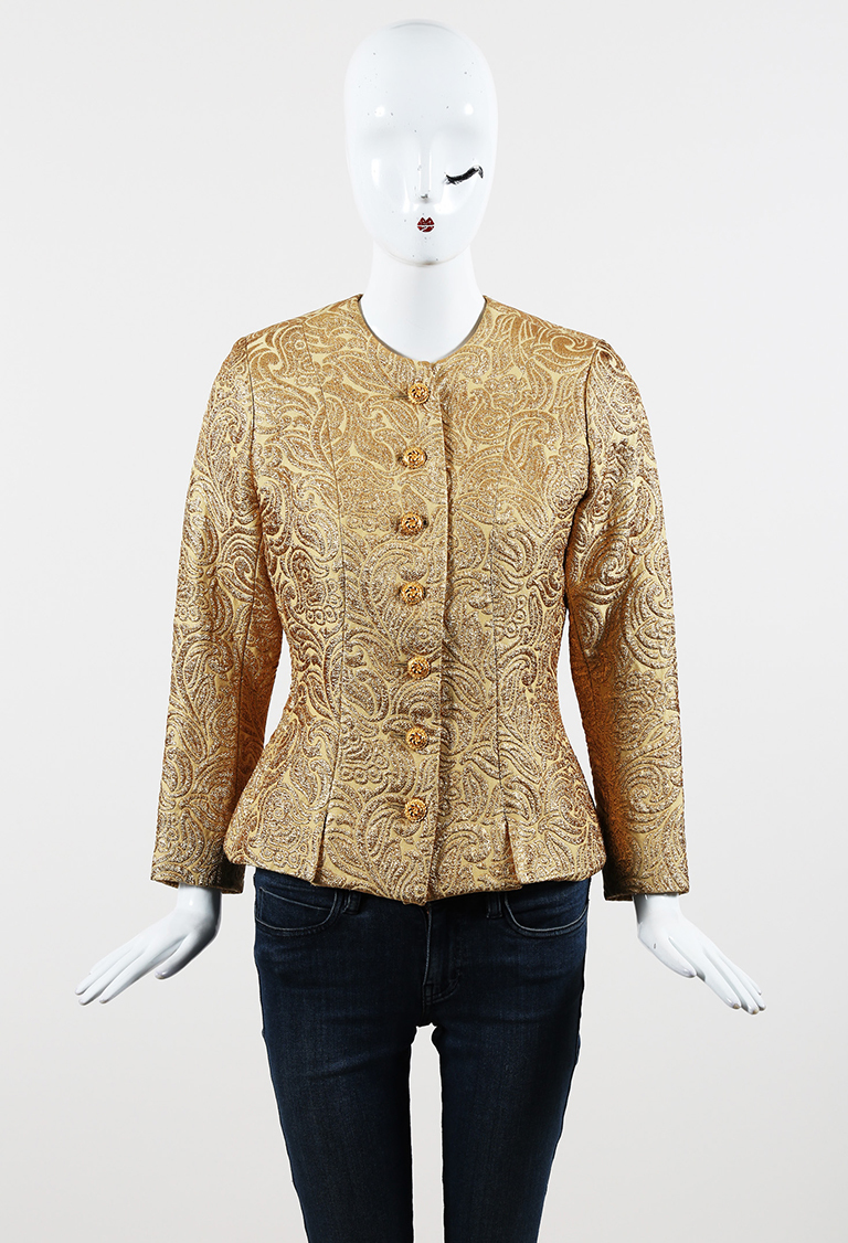Metallic Gold Jacquard Buttoned Front Jacket