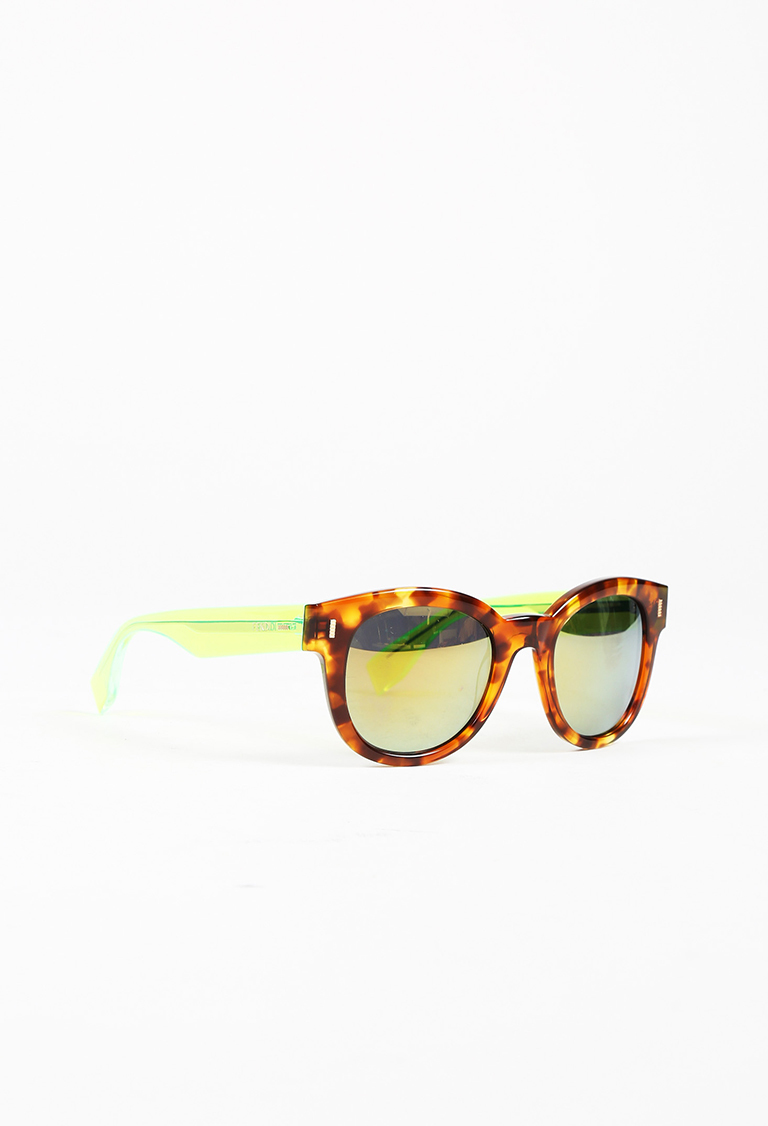 Brown & Neon Green Tortoise Shell Transparent Square Sunglasses