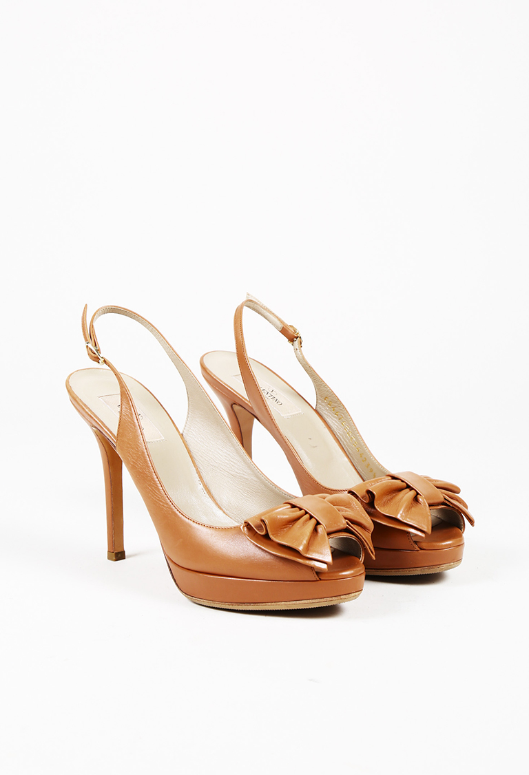 Garavani Brown Leather Peep Toe Bow Slingback Platform Pumps