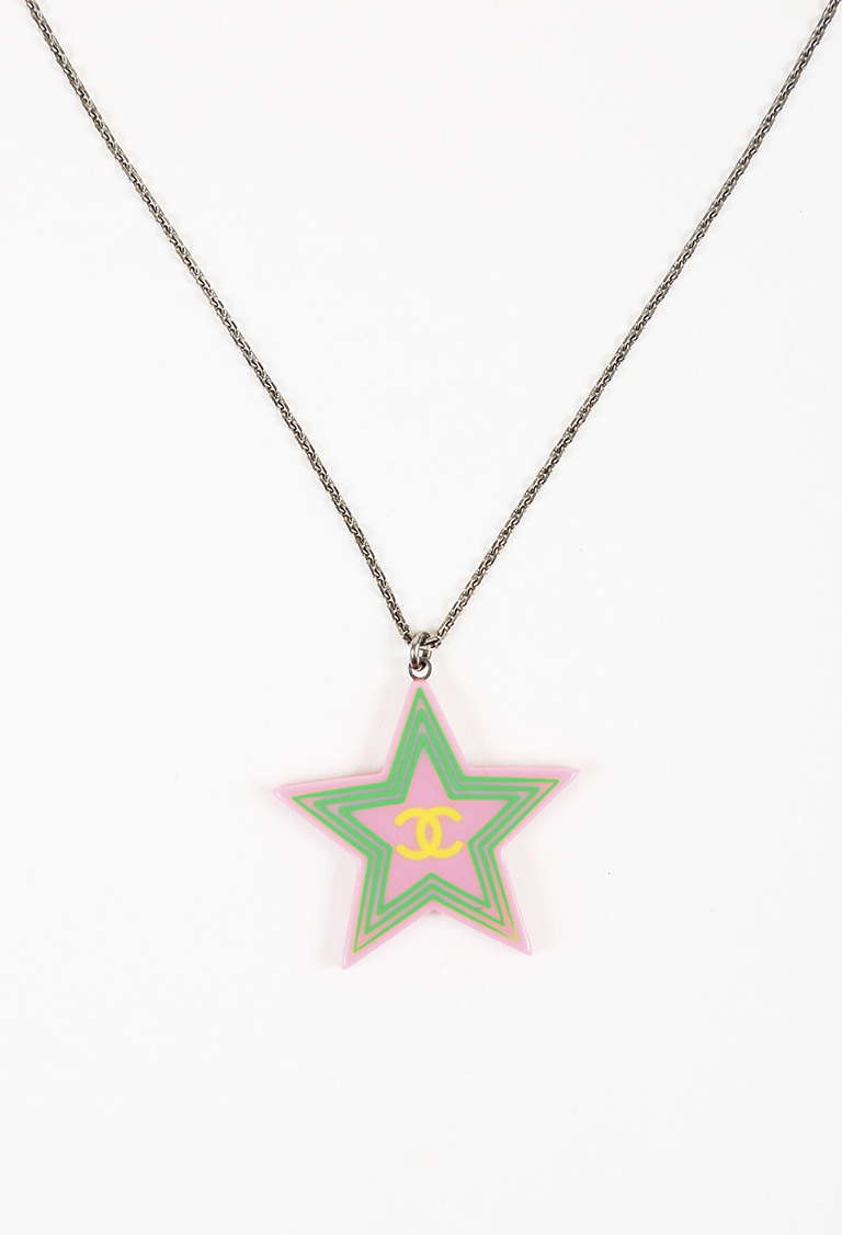 Cruise 2004 Pink Multi Resin Silver Tone Metal Star Pendant Necklace