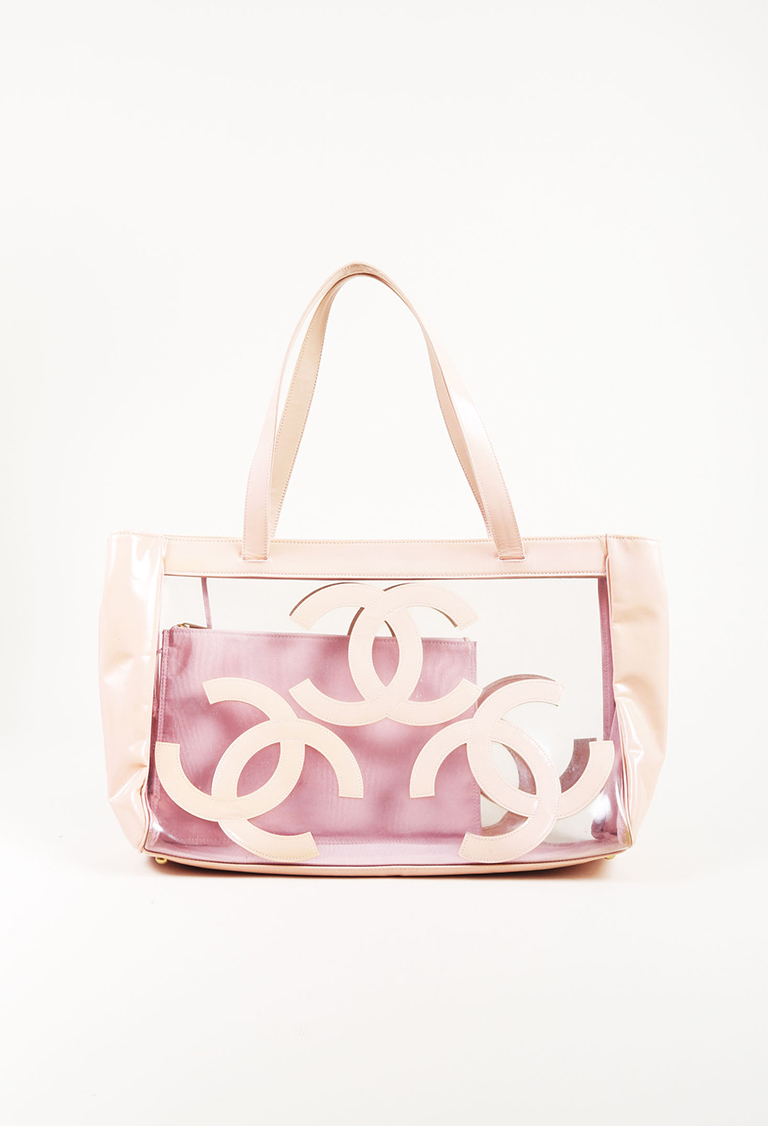 Pink Leather & Clear PVC 'CC' Tote Bag