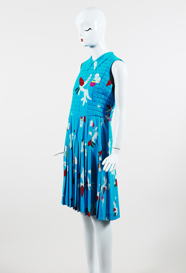 Blue Multicolor Silk Check Quilted Abstract Print Pleated Dress