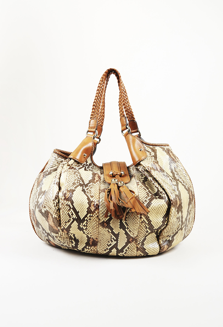 "Brown Python Snakeskin & Leather Braided Handle Large ""Marrakech"" Tote Bag"