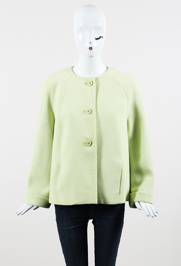 Boutique Green Wool Blend Button Up Jacket