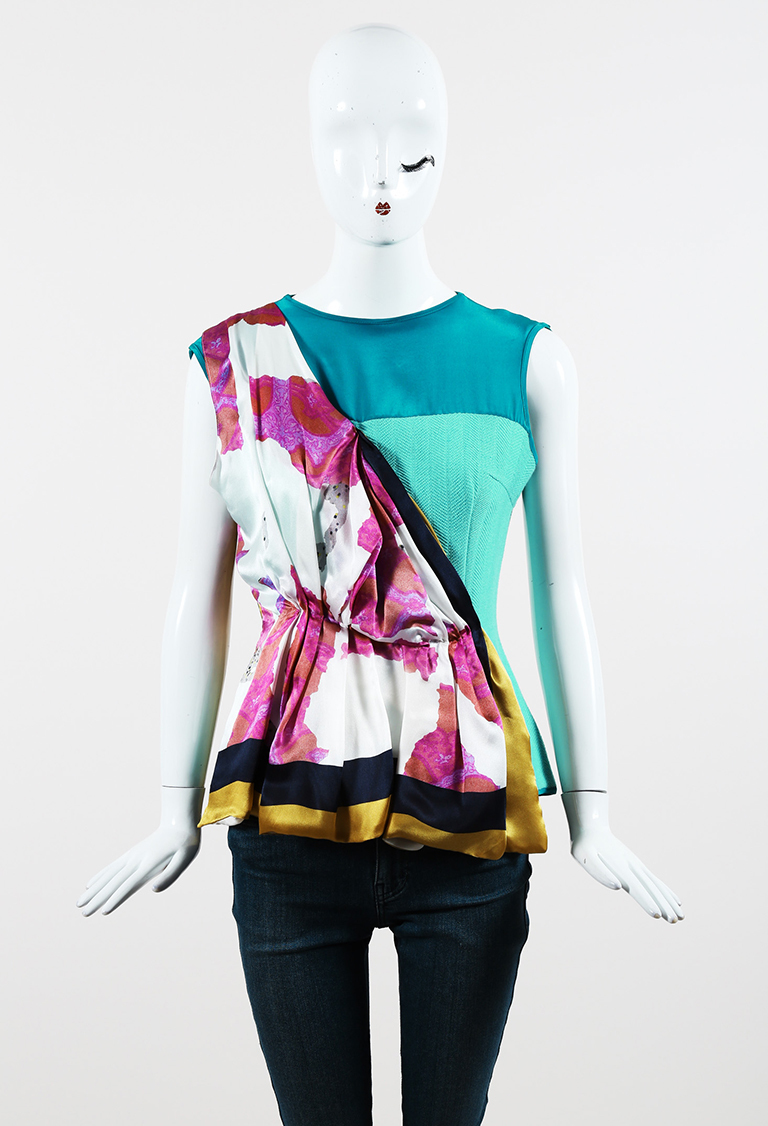 Multicolor Tweed & Printed Silk Sleeveless Top