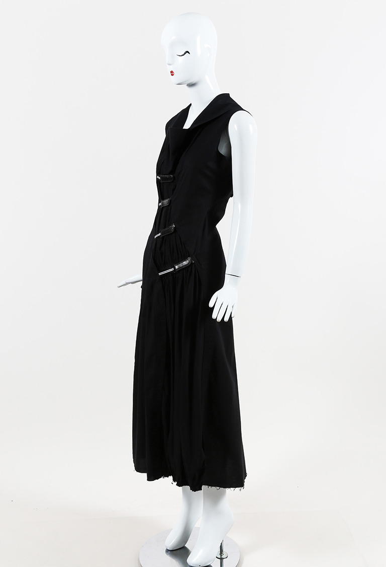 Black Cotton Asymmetric Hook & Loop Sleeveless Maxi Dress