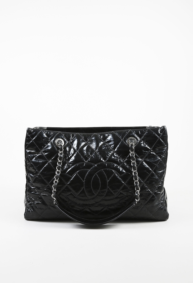 Black Patent Leather Quilted Chain Handle 'CC' Grand Shopping Tote Bag