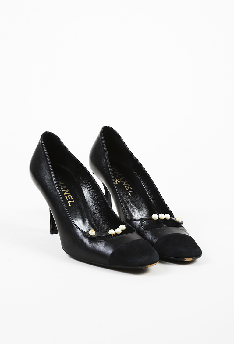 Black Leather & Suede Cap Toe Faux Pearl Embellished Pumps