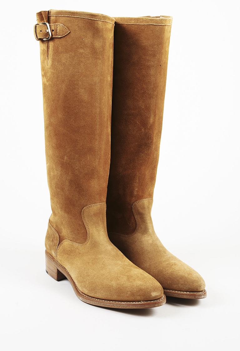 "Cognac Brown Suede ""Mr. Rocco"" Knee High Boots"