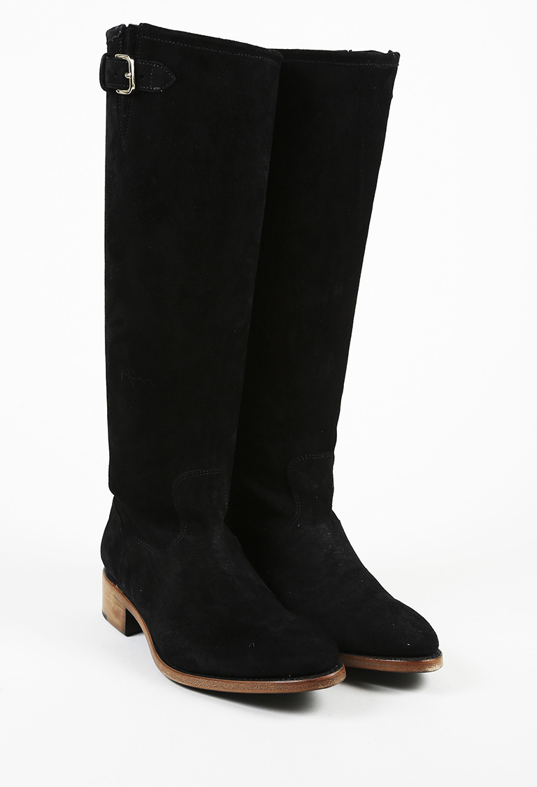 "Black Suede ""Mr. Rocco"" Knee-High Boots"
