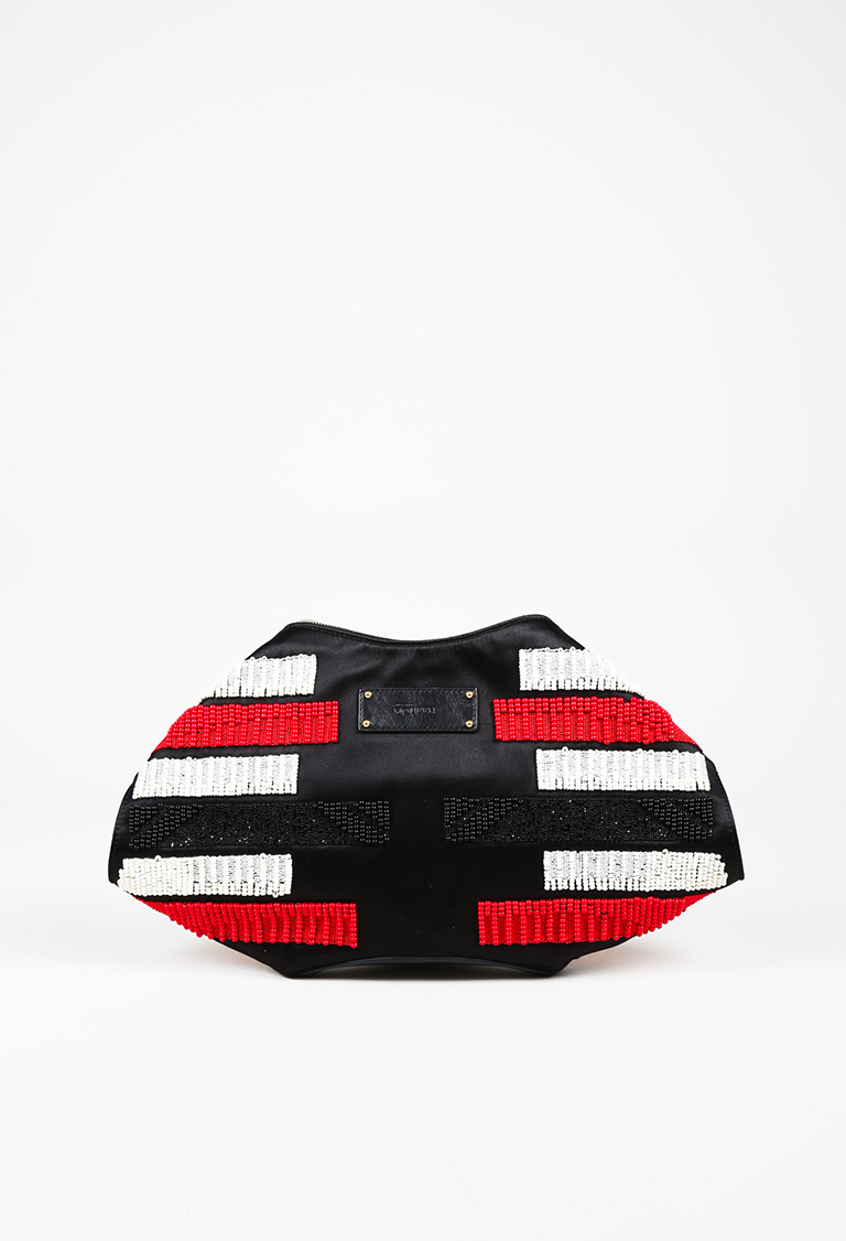 "Black Red & White Satin & Leather Beaded ""De Manta"" Clutch Bag"