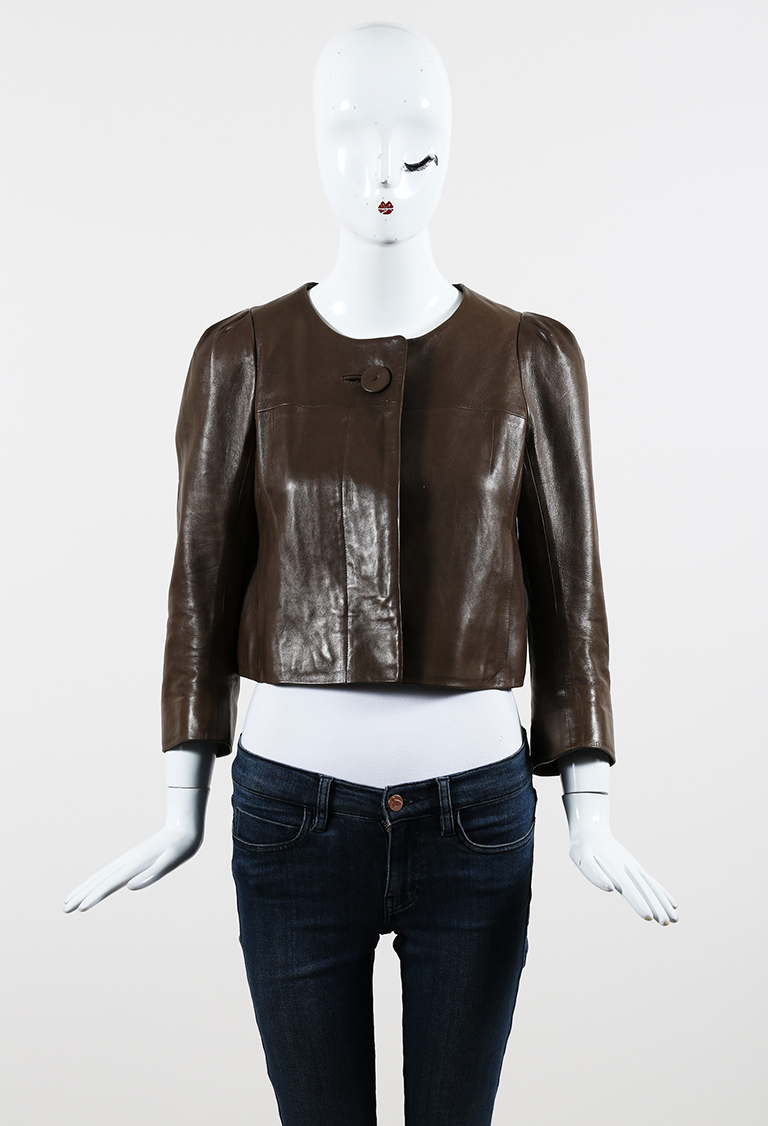 Brown Leather Buttoned Front Cropped Jacket