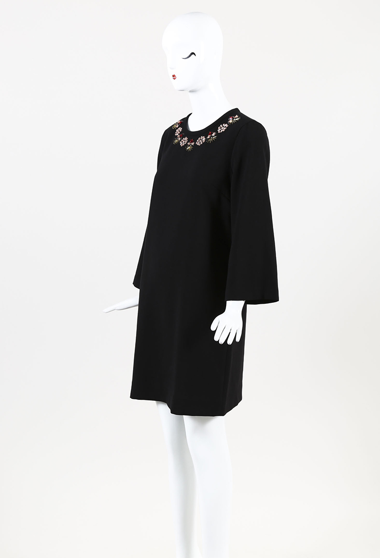 Black Knit Crystal Embellished Bell Sleeve Shift Dress