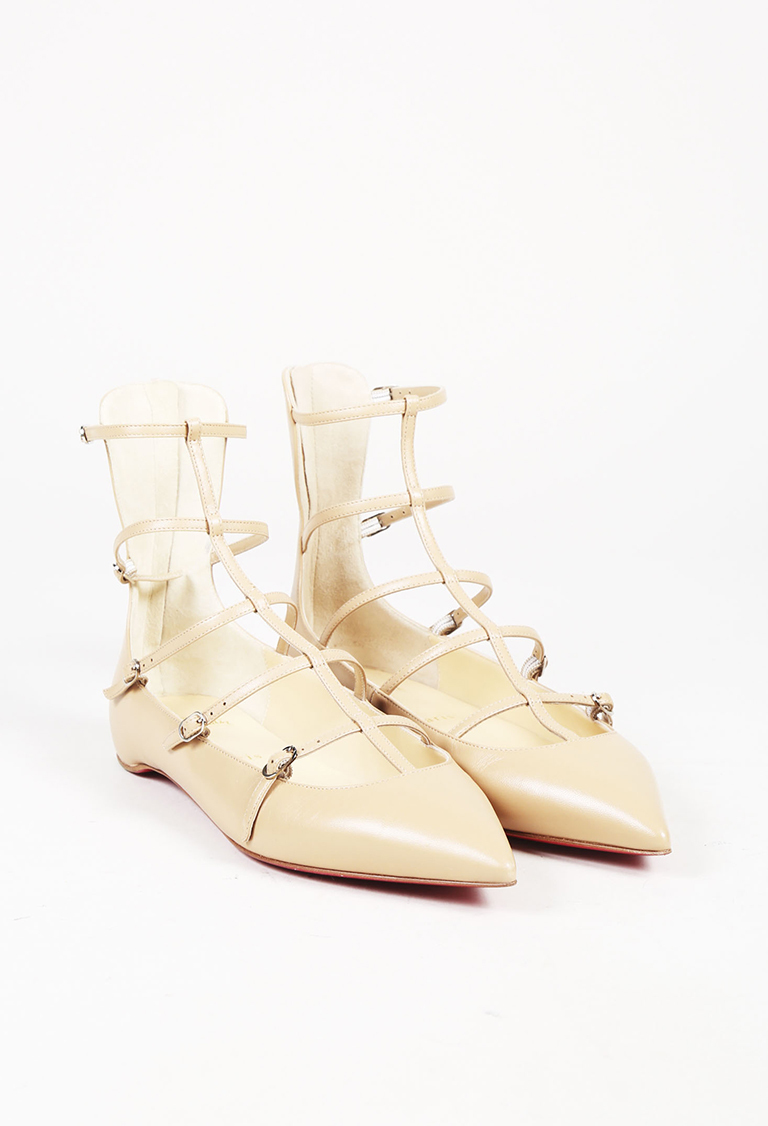 """Beige Leather Caged """"Toerless Mus"""" Pointed Flats"""