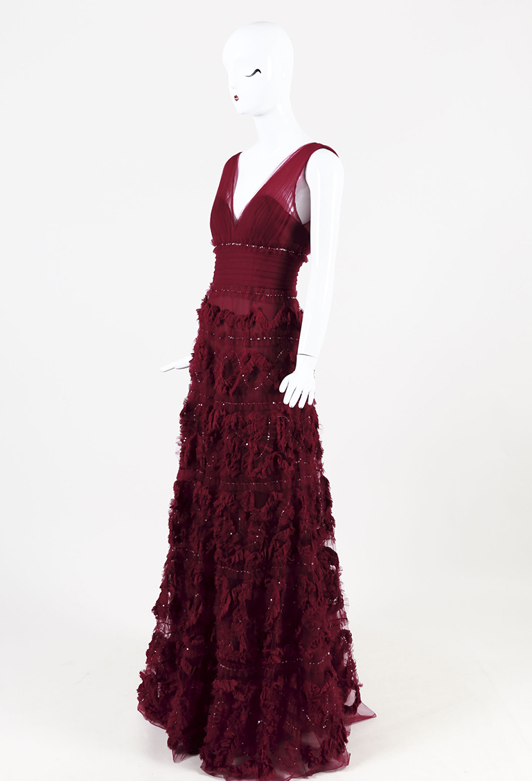 Red Tulle Frilled Sequined & Beaded A Line Gown