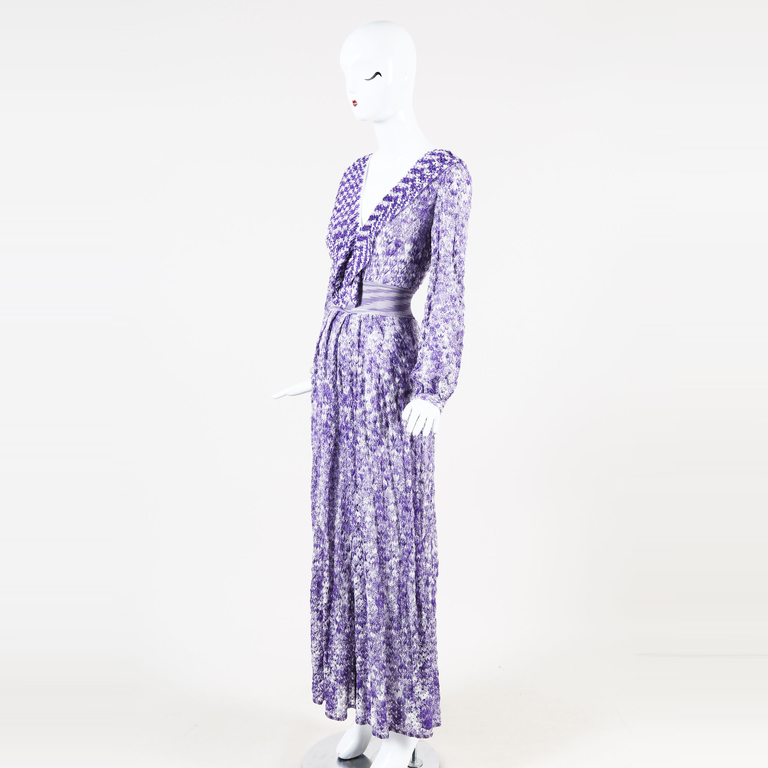 aa136d3f93 Details about Missoni Purple   White Knit Long Sleeve Ruffled Wide Leg V  Neck Jumpsuit SZ 38. See original listing