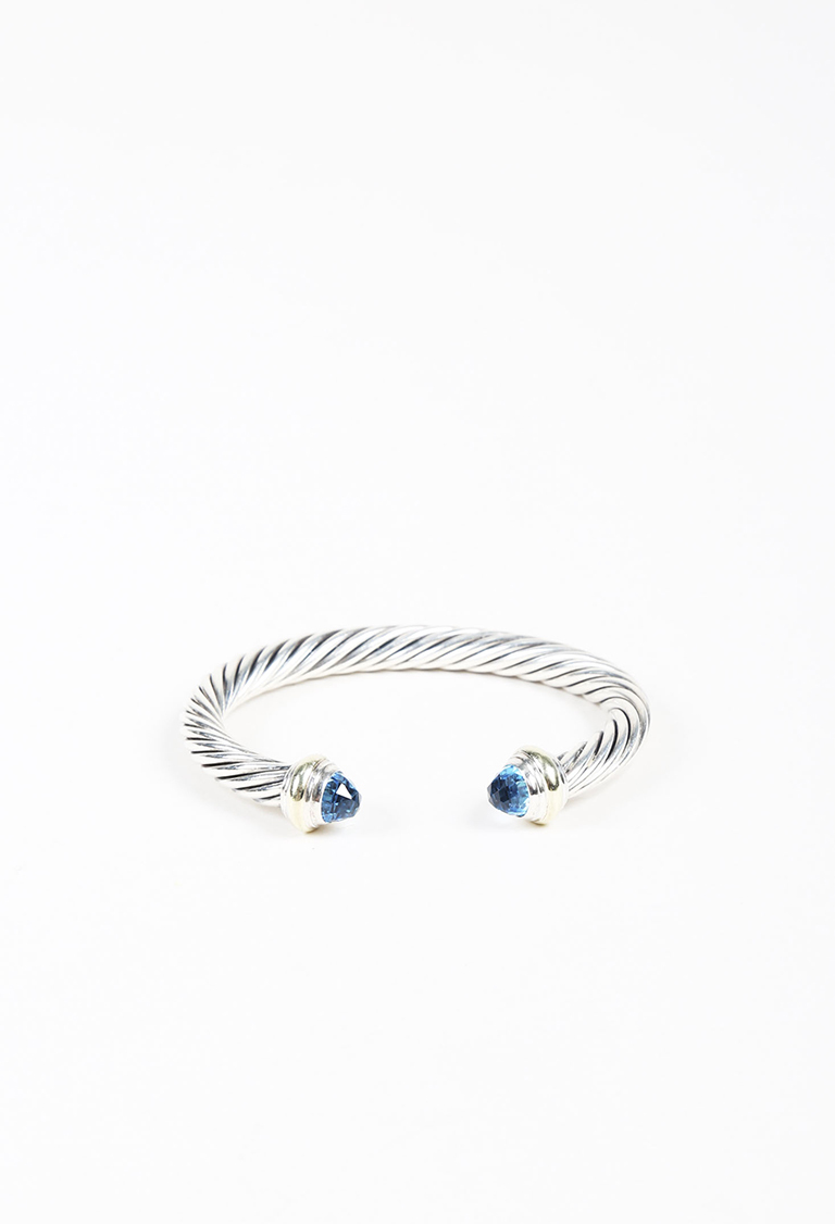 """""""Cable Classic"""" Blue Topaz Sterling Silver 14K Yellow Gold Bracelet"""