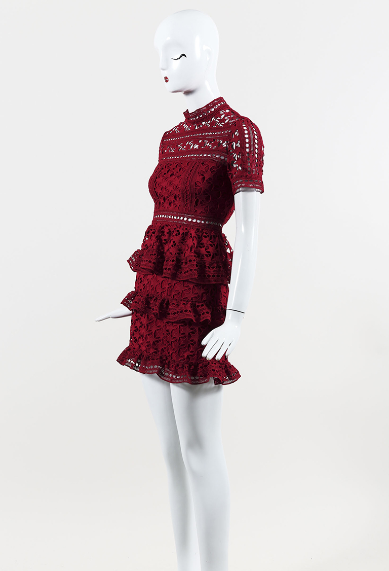 """Red Lace """"High Neck Star Lace Mini"""" Short Sleeve Dress"""
