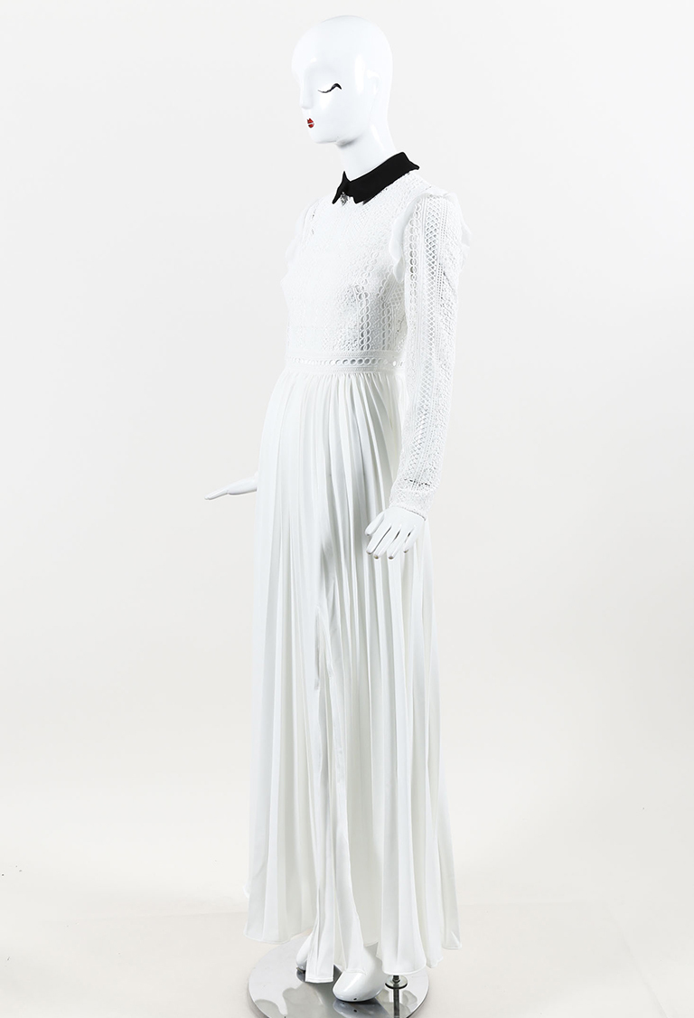 "White Black ""Stripe Paneled Lace Maxi"" Dress"