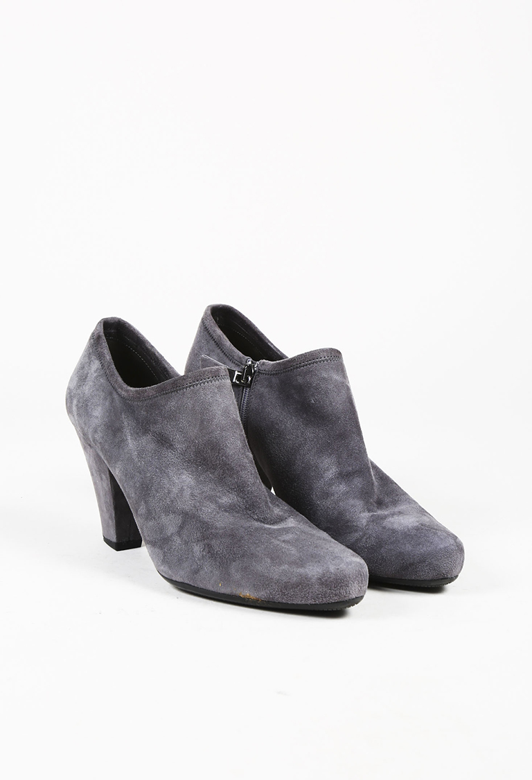 Sport Gray Suede Pointed Ankle Booties
