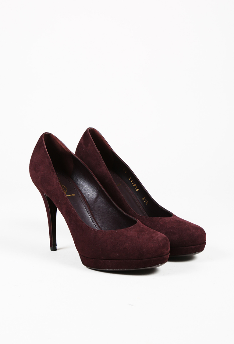 """Prune"" Purple Suede ""Tribute"" Pumps"