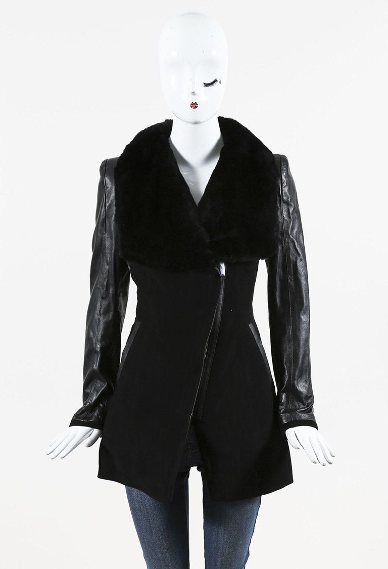 Black Suede Leather & Rex Rabbit Fur Collared Coat