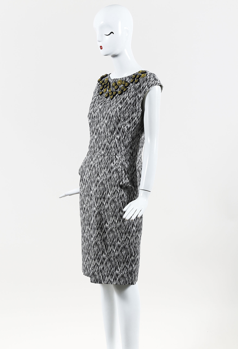Black White Printed Cotton Blend Embellished Sheath Dress