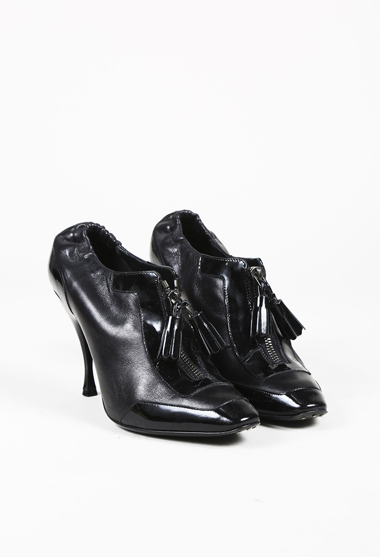Black Leather & Patent Trimmed Tassel Booties