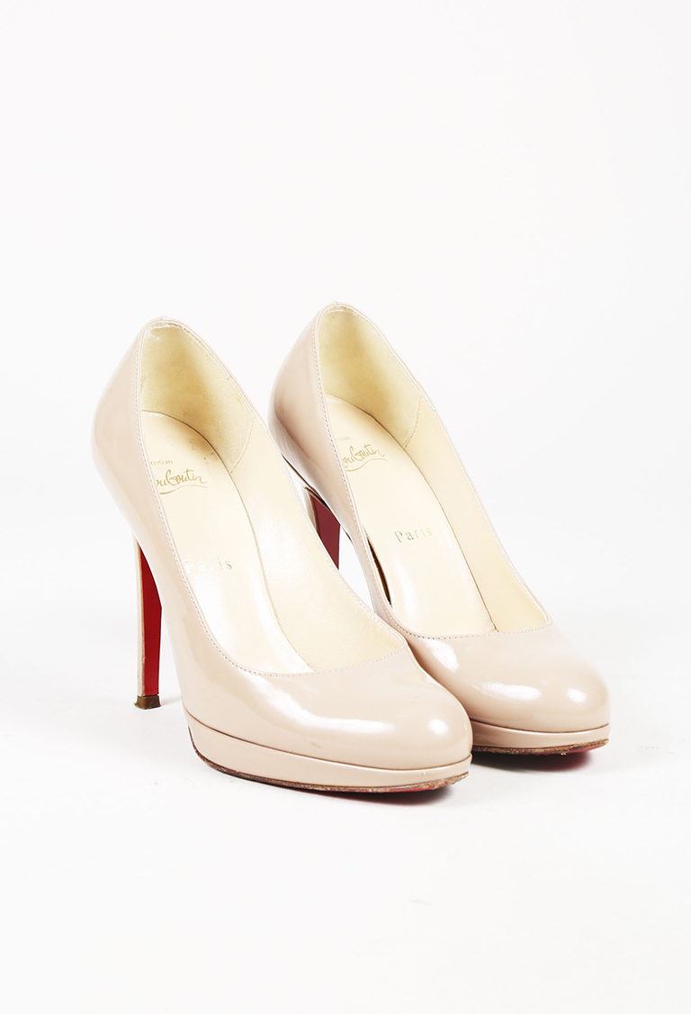 """Nude Patent Leather """"New Simple"""" Pumps"""
