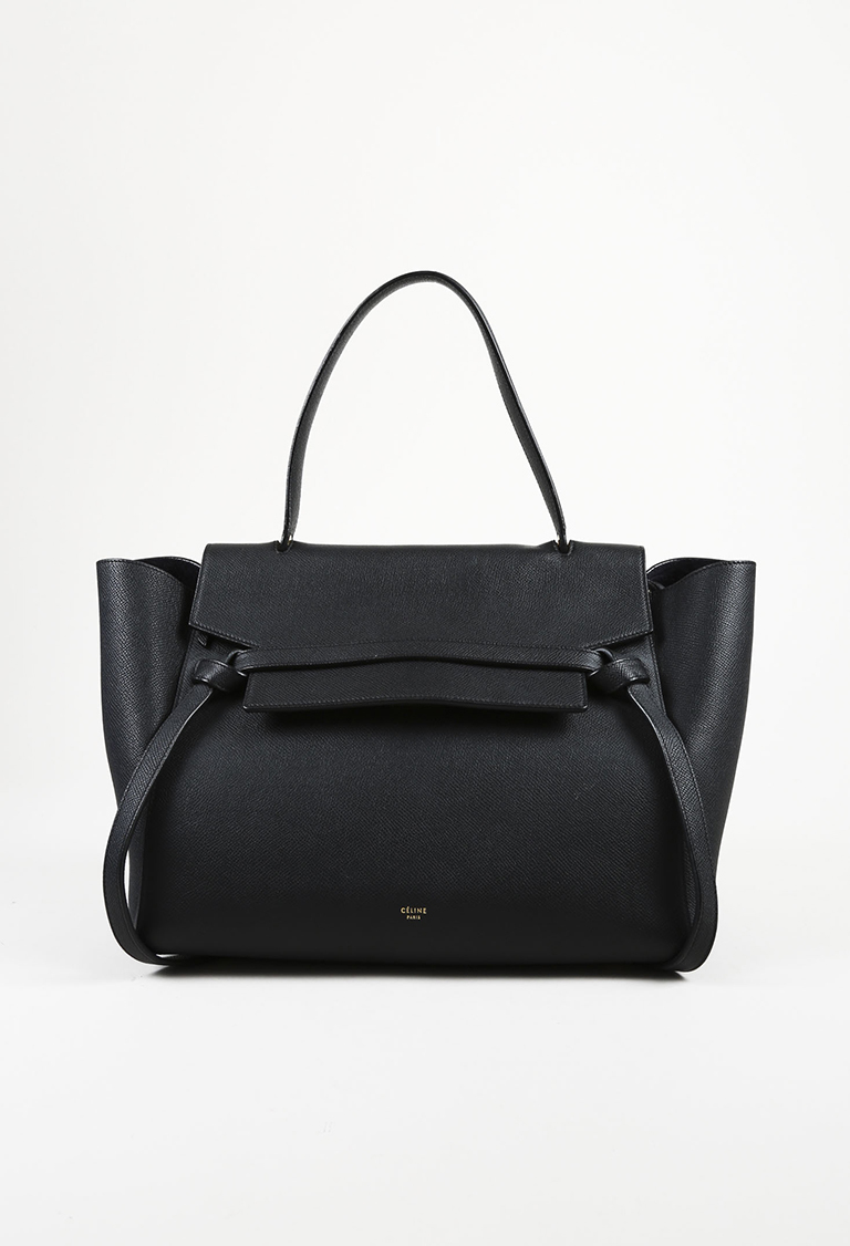 "Black Grained Leather ""Small Belt Bag"" Tote"