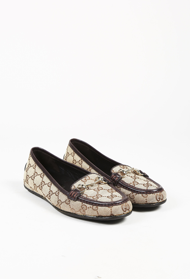 """Brown """"Original GG"""" Canvas & Leather Trimmed Loafer Flats"""