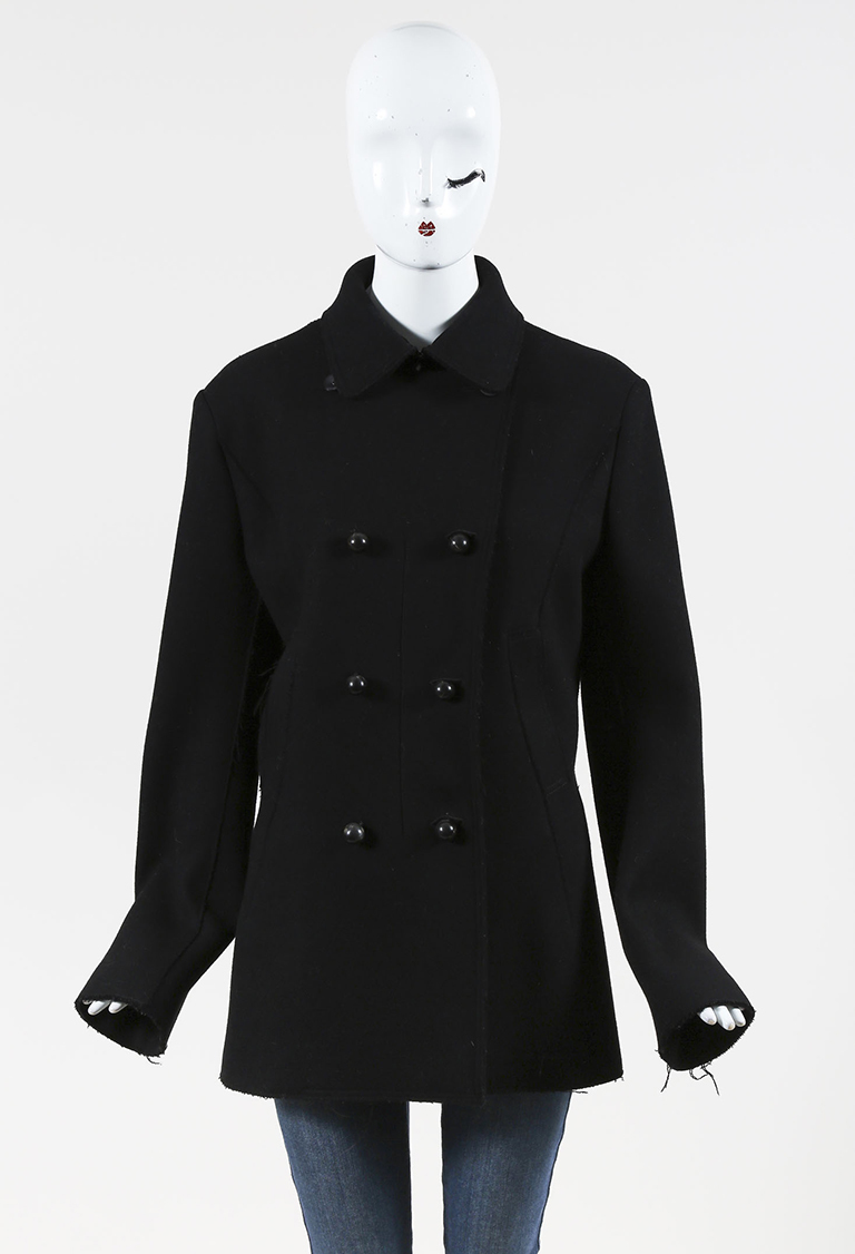 Black Cashmere Silk & Wool Double Breasted Jacket