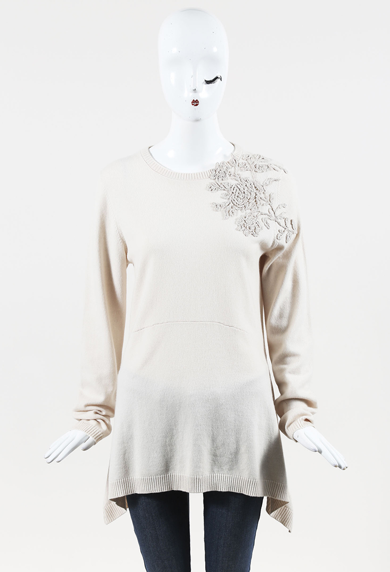 Beige Cashmere Sequined & Embroidered Sweater