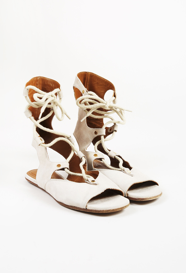 Beige Suede Open Toe Lace Up Gladiator Sandals
