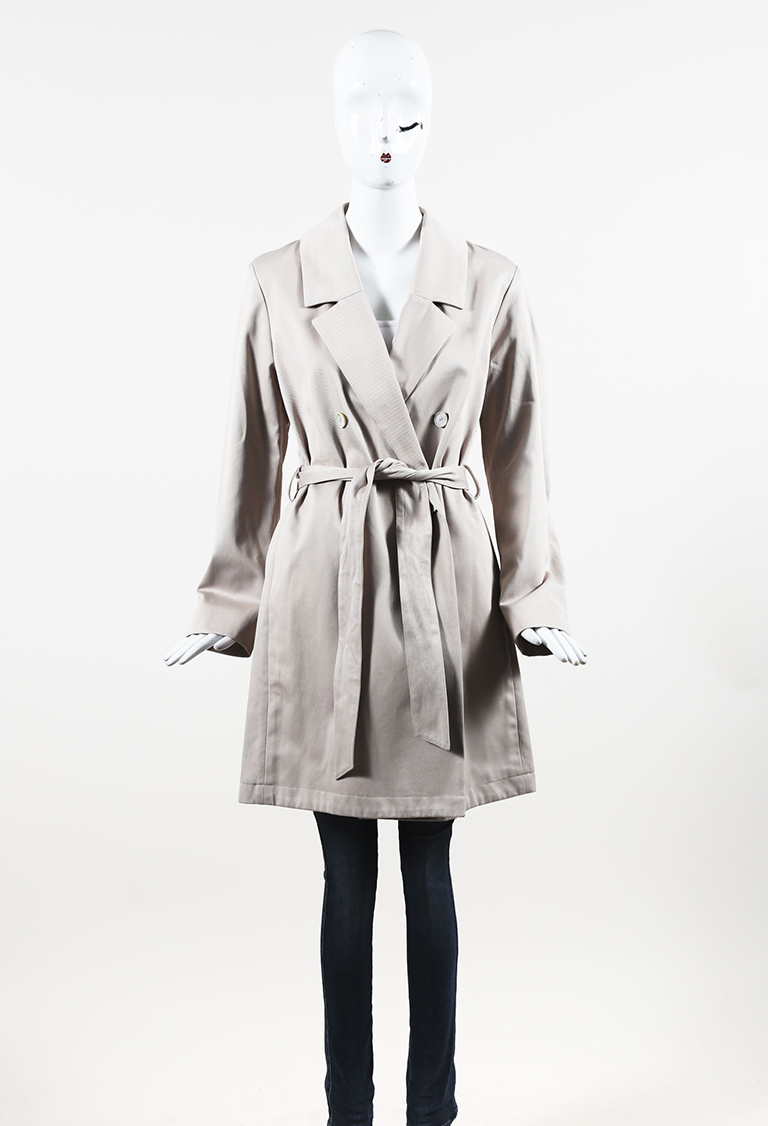 Beige Cotton Monili Beaded Belted Trench Coat