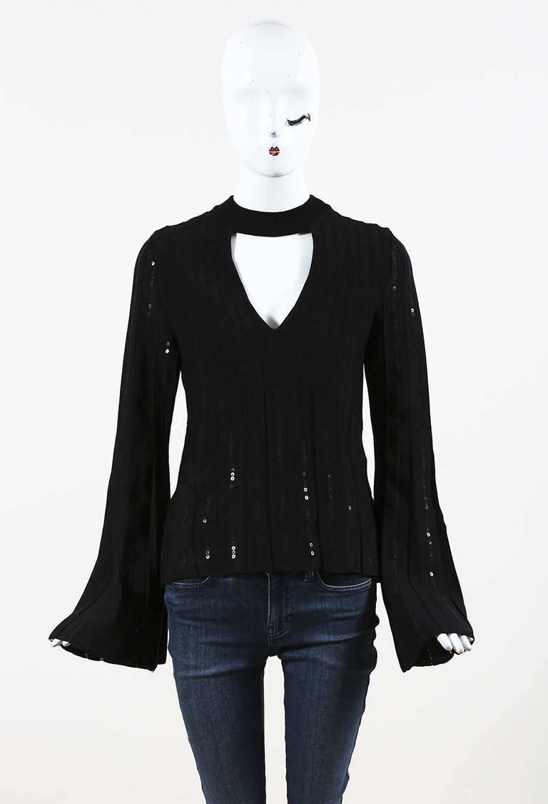 Black Knit Sequined Bell Sleeve Top