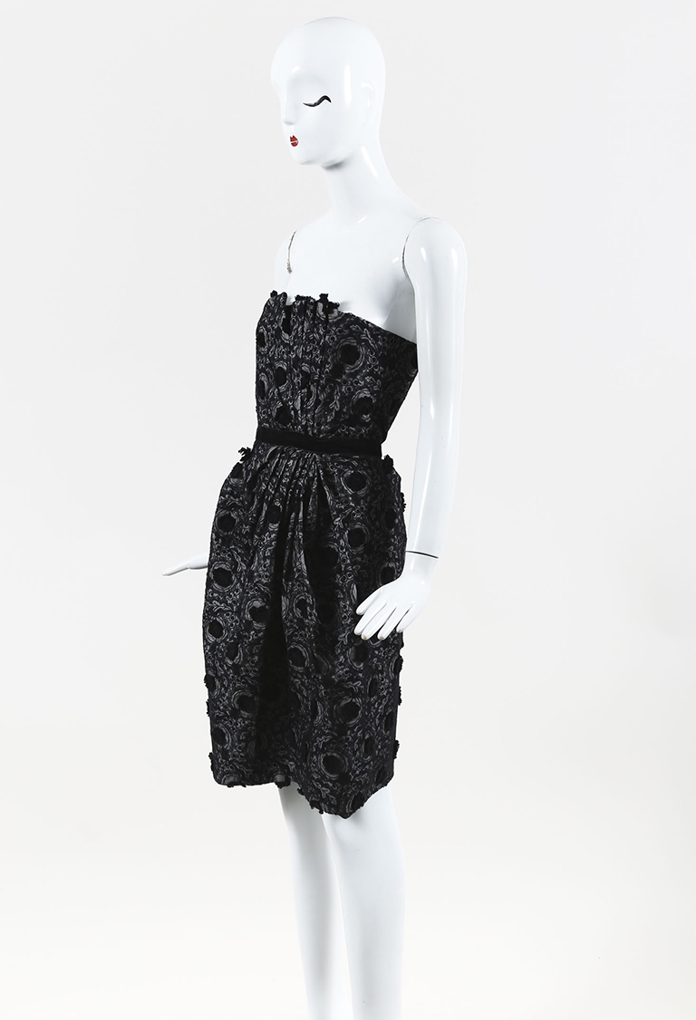 Marc by  Black Embroidered Asymmetric Pleated Strapless Dress