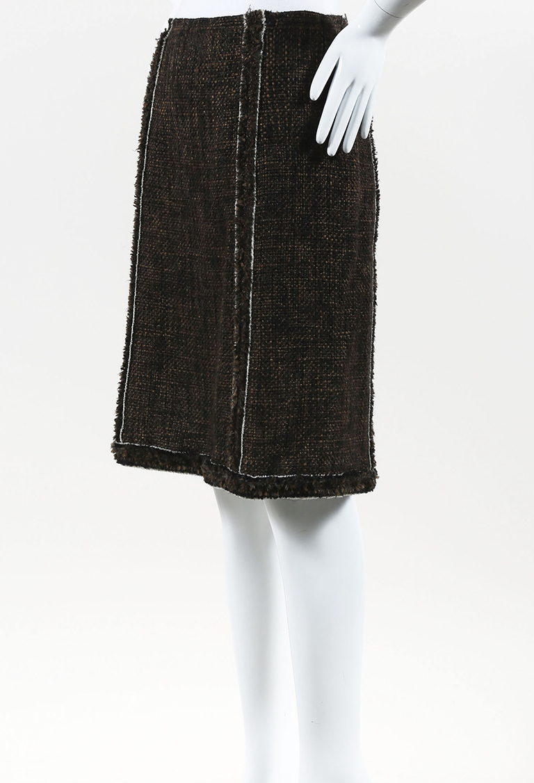 Brown Multicolor Tweed Fringed A Line Skirt