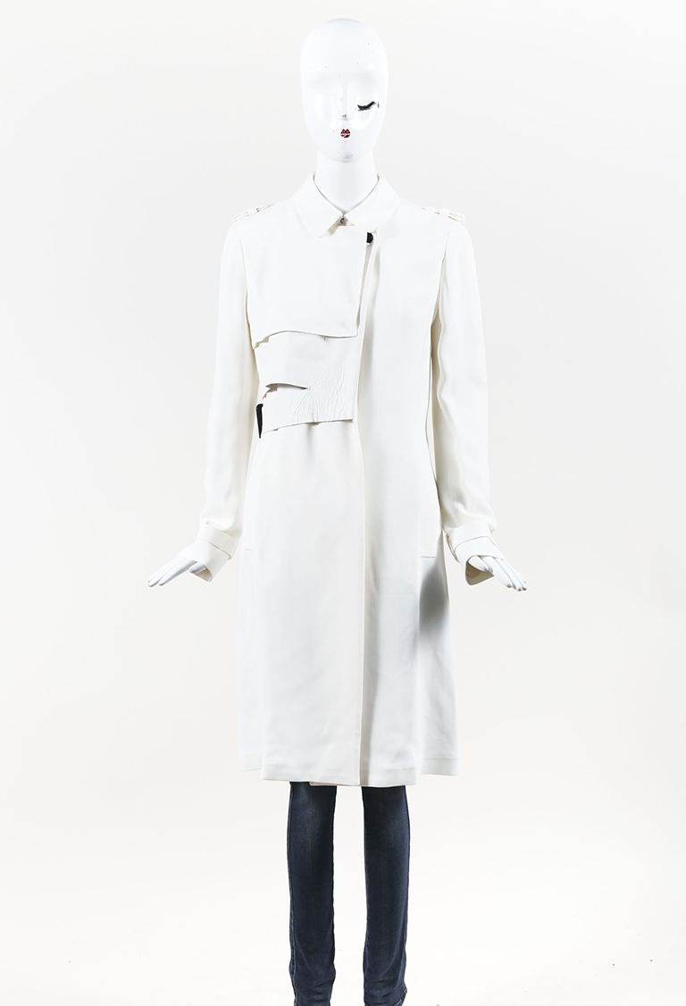 White Crepe & Leather Belted Asymmetric Jacket