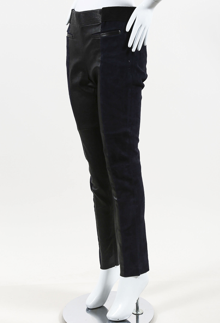 Blue Suede Black Leather Paneled Skinny Leg Pants